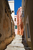 Narrow walkway, City of Ermoupolis also spelled Hermopolis, Capital of the Aegean Sea, Cyclades Islands, Island of Syros, Greece