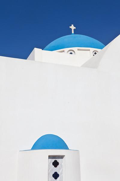 Blue Dome and window, Santorini, Greece
