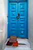 Blue Doorway, Island of Mykonos, Cyclade Islands, Aegean Sea, Greece