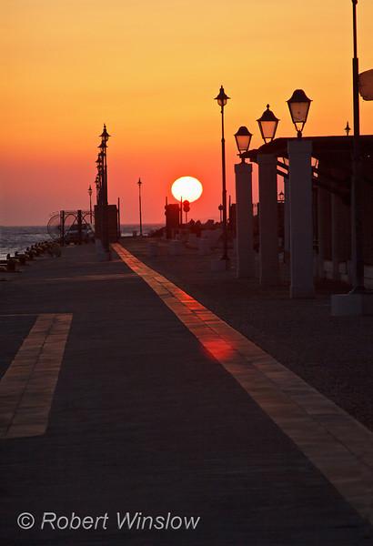 Sunset, New Harbor, Island of Mykonos, Cyclade Islands, Aegean Sea, Greece