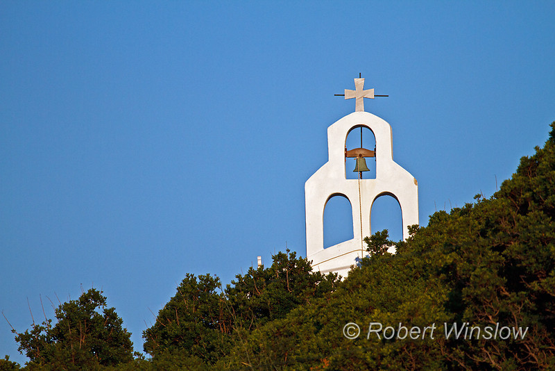 Bell tower on Small Church, Galissas, Island of Syros, Cyclade Islands, Aegean Sea, Greece