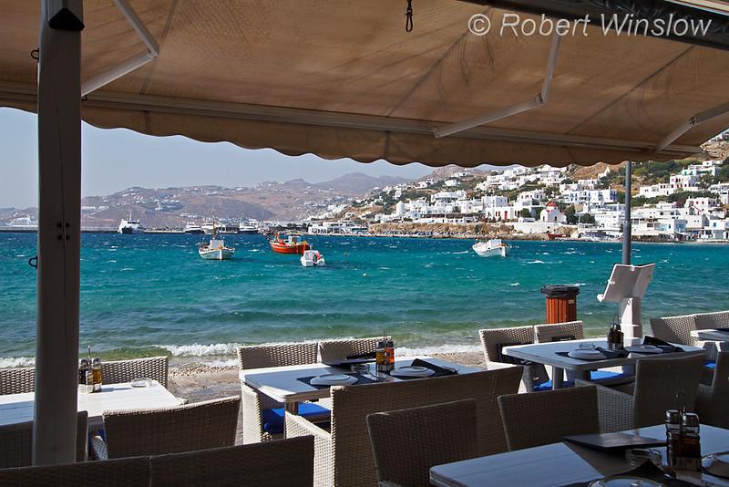 Outdoor Restaurant, Boats, Island of Mykonos, Cyclade Islands, Aegean Sea, Greece