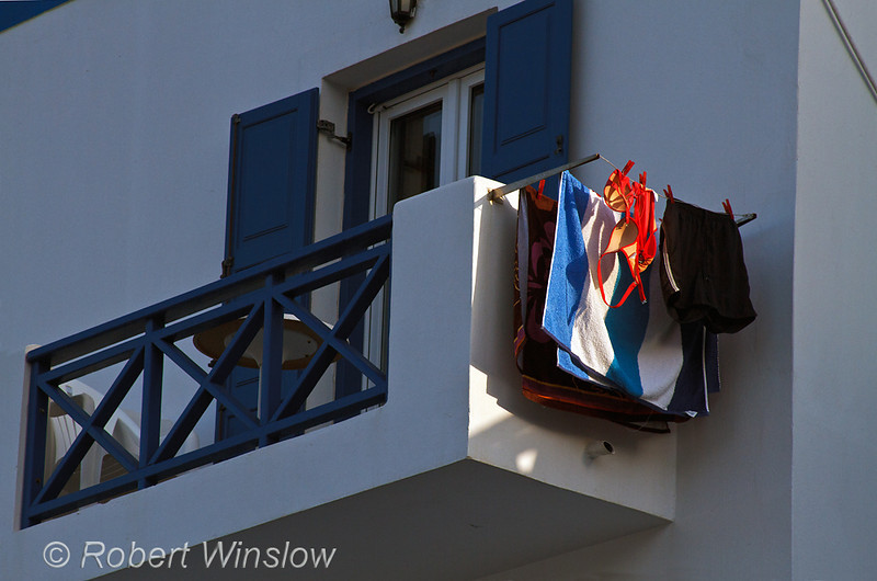 Bathing Suits,  Drying from Second Floor Balcony, Dolphin Bay Hotel, Galissas, Island of Syros, Cyclade Islands, Aegean Sea, Greece