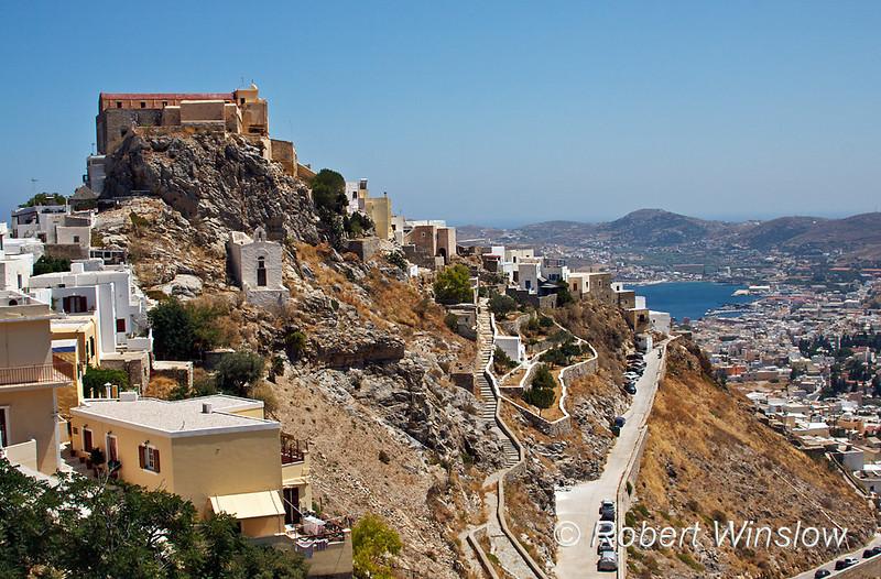 Catholic Basilica of San Georges, Saint George, Ano Syros, Island of Syros, Cyclade Islands, Aegean Sea, Greece