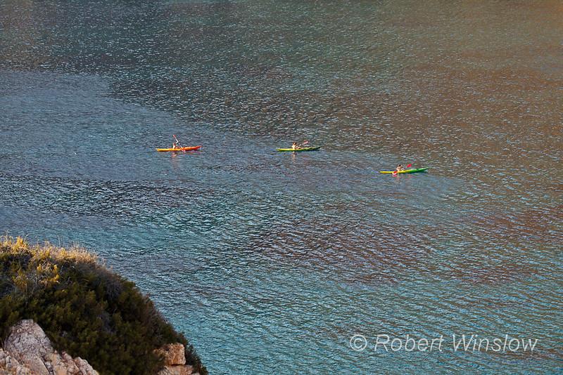 Three Kayakers, Galissas, Island of Syros, Cyclade Islands, Aegean Sea, Greece