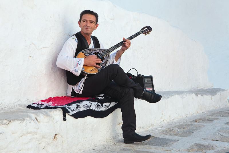 Street musician, Mykonos, Greece