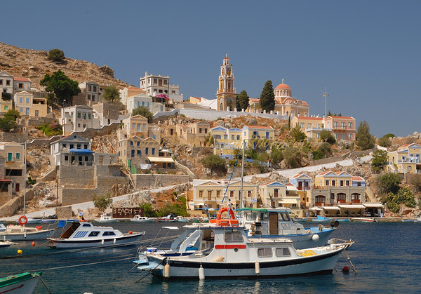 Symi harbor in Dodecanese, Greece