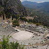 Theater at Delphi with view of temple and the valley beneath.