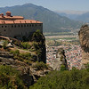 View of the town of Kalambaka from cliff top monastery in Meteora, Greece