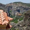 View of cliff top monasteries in Meteora, Greece.