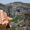 View of cliff top monasteries in Meteora, Greece.