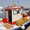 Colorful Greek fishing boat in Paros Island