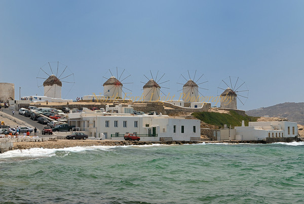 Classic view of windmills in Mykonos