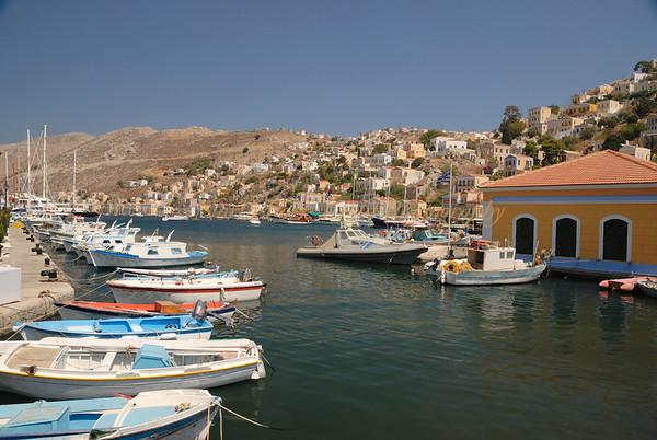 Yialos in Symi harbor in Dodecanese, Greece