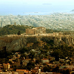 View of Acropolis and Parthenon from Lycabetos Hill in Athens
