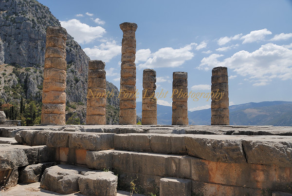 Temple of Apollo in Delphi, Greece once the center of the earth