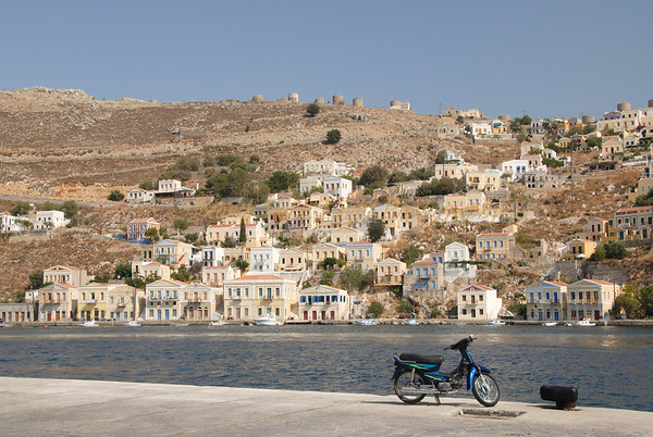 View of Symi harbor in Dodecanese, Greece