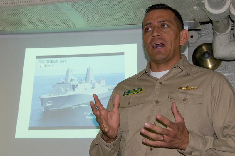 CDR Zamora (XO) providing our initial briefing in the pilot briefing room on board the USS Green Bay