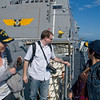 Jennifer, Jake and Ponzi heading out to the flight deck after our initial briefing on board the USS Green Bay