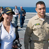 Gina & CMDCM Macias on the flight deck of the USS Green Bay