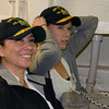 Gina and Jennifer listening to the initial briefing in the pilot briefign room on board the USS Green Bay