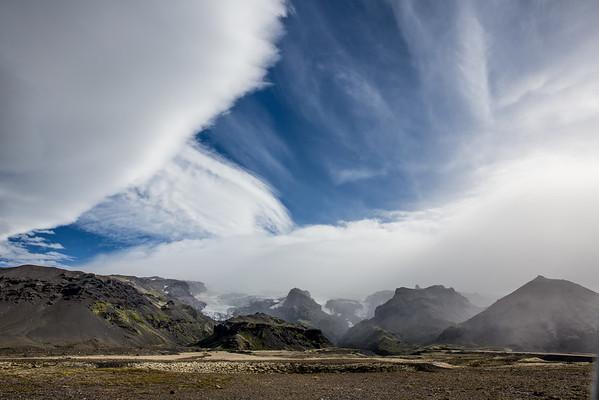 Iceland landscape glaciers sky