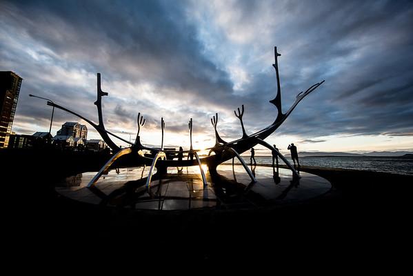 Iceland Sun Voyager statue Reykjavik Sunset  Sólfar
