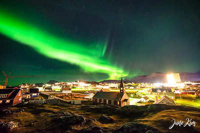 Photographing on a hill near the shore above Nuuk Cathedral in the historical Old Nuuk area of the city