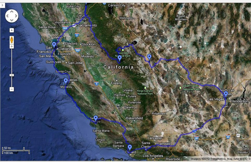 Here's this year's variation on this loop.  Hwy 49 to its Southern end, Tioga Pass to the Eastern Sierra, Hwy 168 into Nevada, then long Hwy 95 to Las Vegas, long return leg to Ventura, Hwy 33 and 58 to SLO, up the coast Hwy 1 to Norm's, and the final route to be determined, but likely Hwy 35 in the Southern SF peninsula.