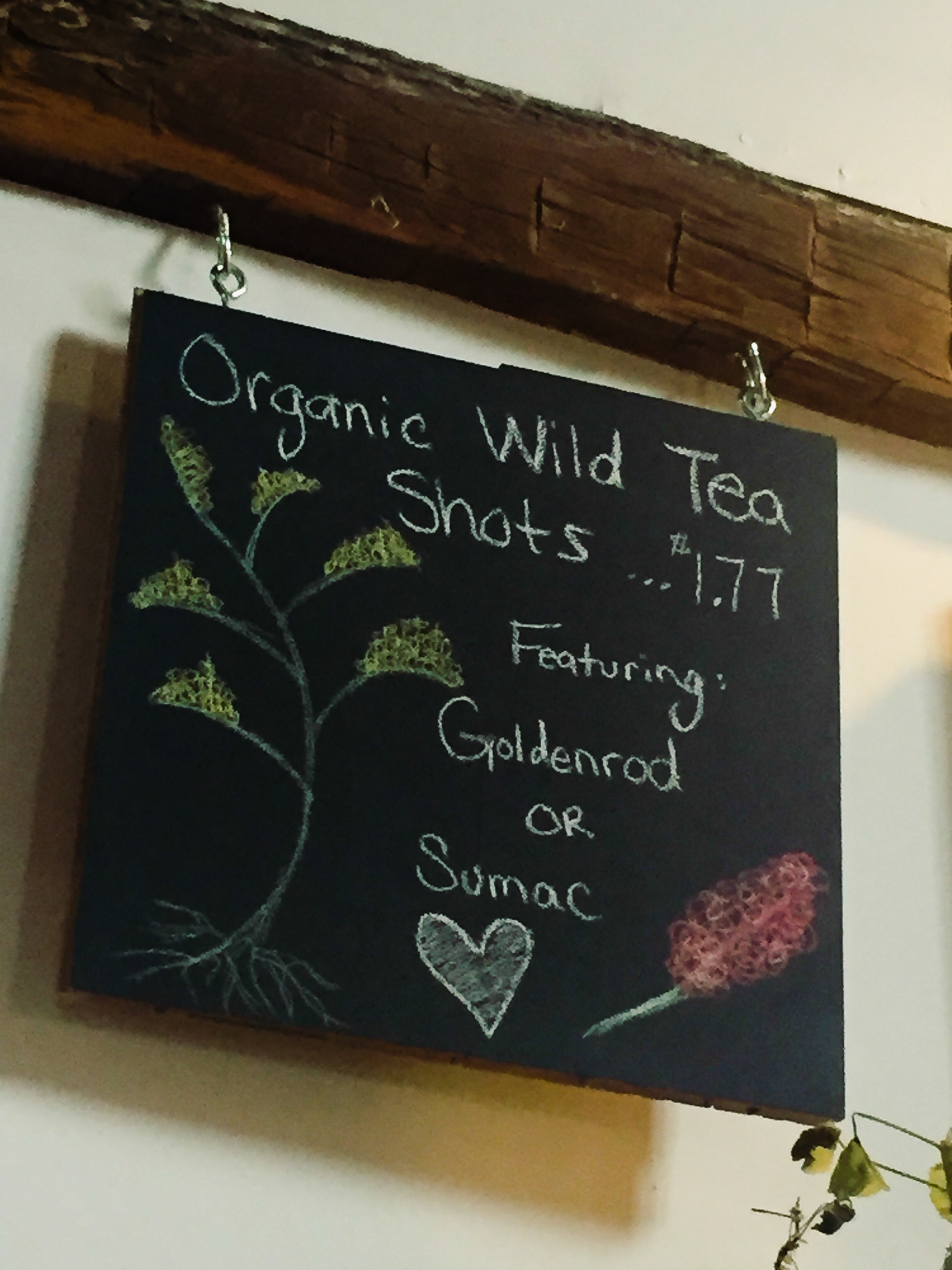 The Barn Co-operative Network in Meaford has wild tea shot tastings.