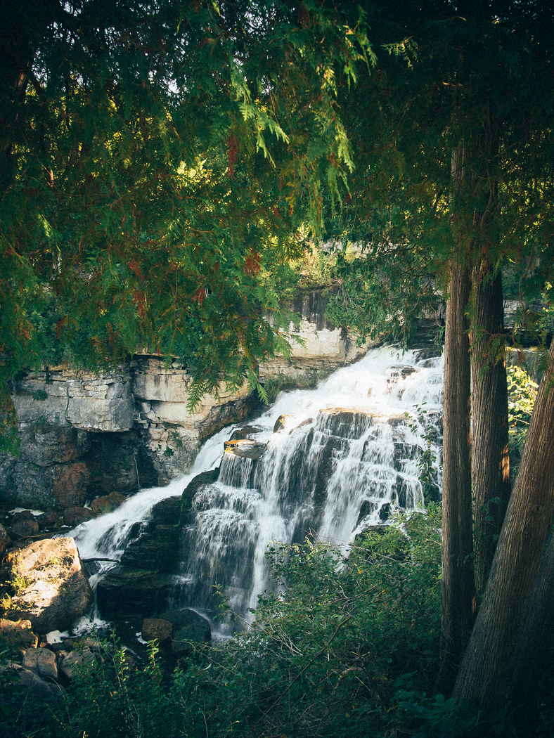 Owen Sound Salmon Tour ends in Inglis Falls, visit on an autumn color tour in Grey County.