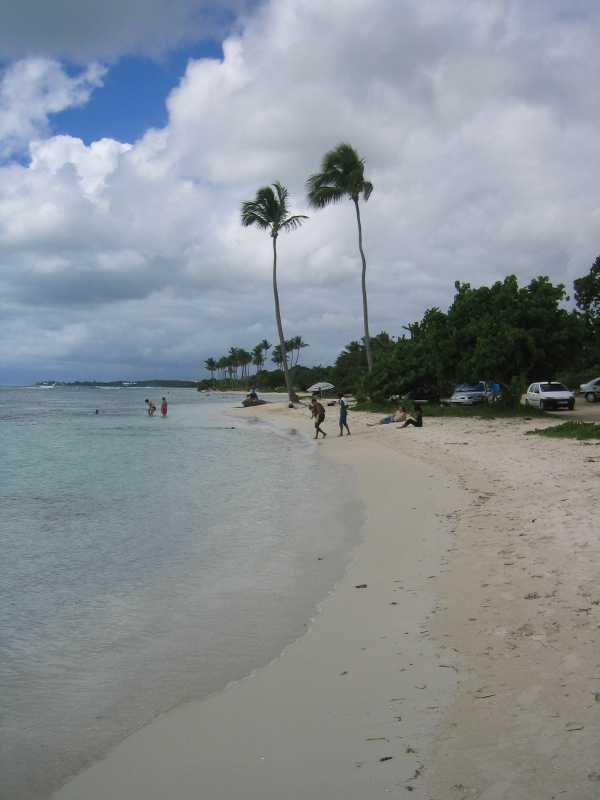 Plage de Bois Jolan is a popular family beach east of Ste. Anne.
