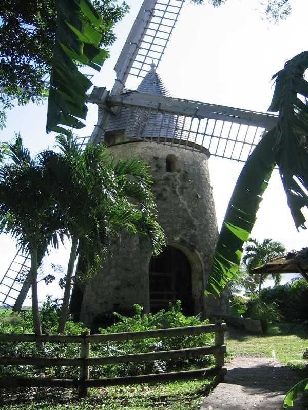 This is a windmill reconstructed on the grounds of Distillerie Damoiseau.
