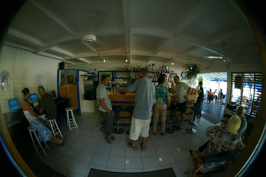 L'@robas is a cyber cafe on the marina in San Francois, Guadeloupe.