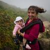 Sophie au sommet de la Soufrière