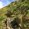Emily descendant le sentier de la Soufrière