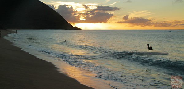 Grande anise beach Guadeloupe sunset jump