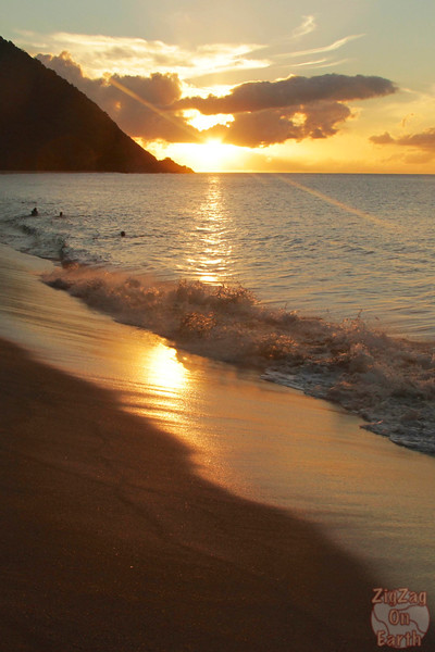 Grande anise beach Guadeloupe sunset swimmers