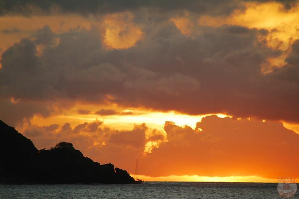 Grande anise beach Guadeloupe sunset boat
