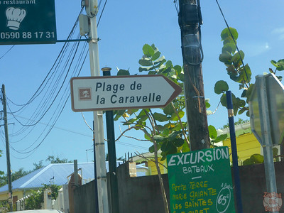 Sign road La Caravelle beach