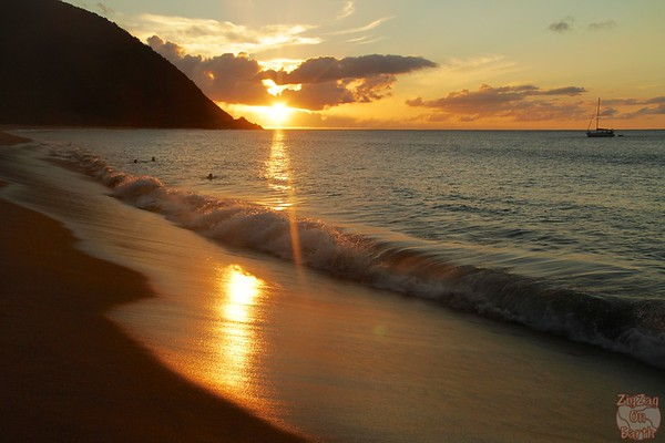 Grande anise beach Guadeloupe sunset reflection 2