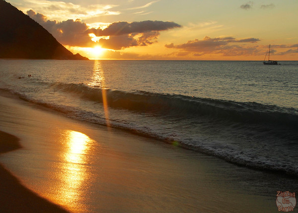 Grande anise beach Guadeloupe sunset reflection