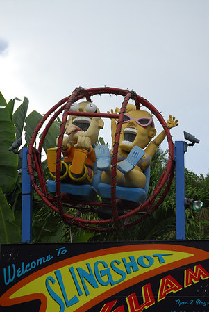 An attraction known as the Daring Sling Shot (riders are strapped into a ball that's shot upward on a wire and brought back down)