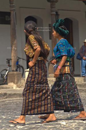 Indigenous Maya women wearing traditional costumes called traje. La Antigua Guatemala, UNESCO World Cultural Heritage