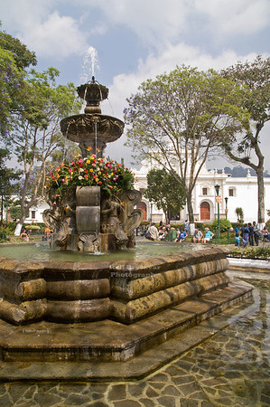 Central fountain in Antigua's Central Park, La Antigua Guatemala, UNESCO World Cultural Heritage