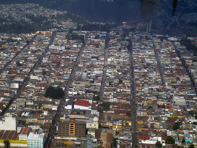 Aerial view of Guatemala City during landing approach