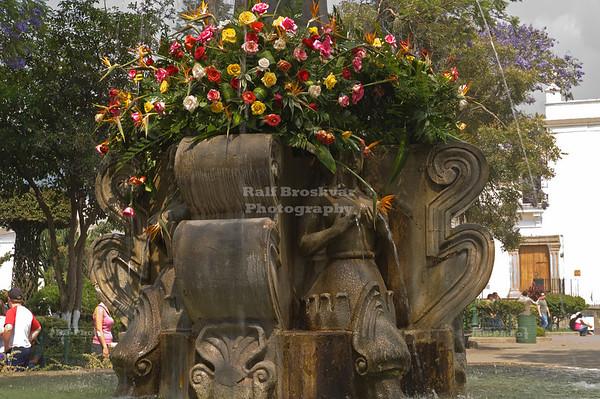 Central fountain in Antigua's Central Park, La Antigua Guatemala, UNESCO World Cultural Heritage