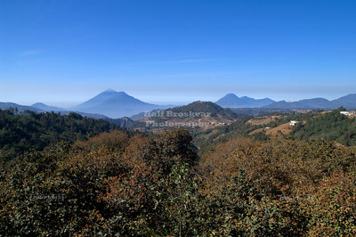 Several volcanoes, like Fuego, Acatenango and others can be seen from a viewpoint on Highway 1, the Pan-Americana