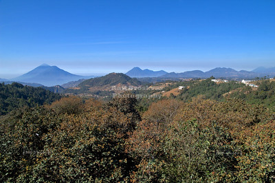 Several volcanoes can be seen from a viewpoint on Highway 1, the Pan-Americana in Guatemala