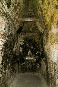 Small room with corbeled ceiling, Acanaladuras Palace or Group G Maya Site at Tikal National Park, Guatemala, a UNESCO World Heritage Site
